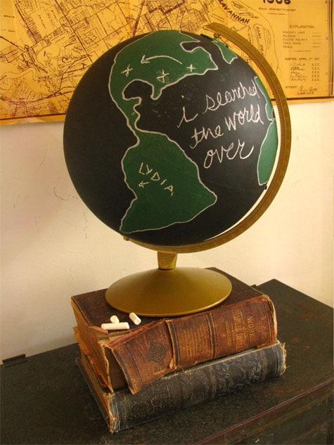 diy old globe, chalkboard on globe, write on globe