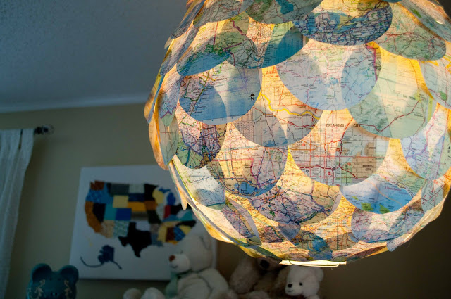 maps diy, what to do with maps from travel, travel maps lamp diy