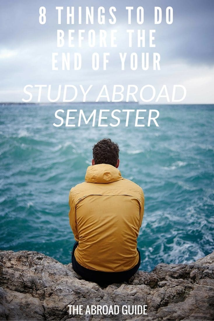 Before your study abroad semester wraps up, there's a few things to do to end your semester on a high note and to make your transition back to the US as smooth as possible. What to do before you leave your study abroad semester