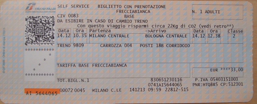how to read an Italian train ticket