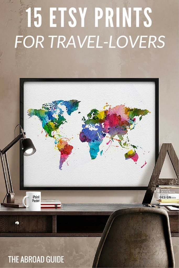 These 15 prints and posters on Etsy are great gifts for people who love to travel. Some are travel quotes, some are vintage ads from airlines and such, and some are just travel-themed posters in prints, great for people who love to travel the world.