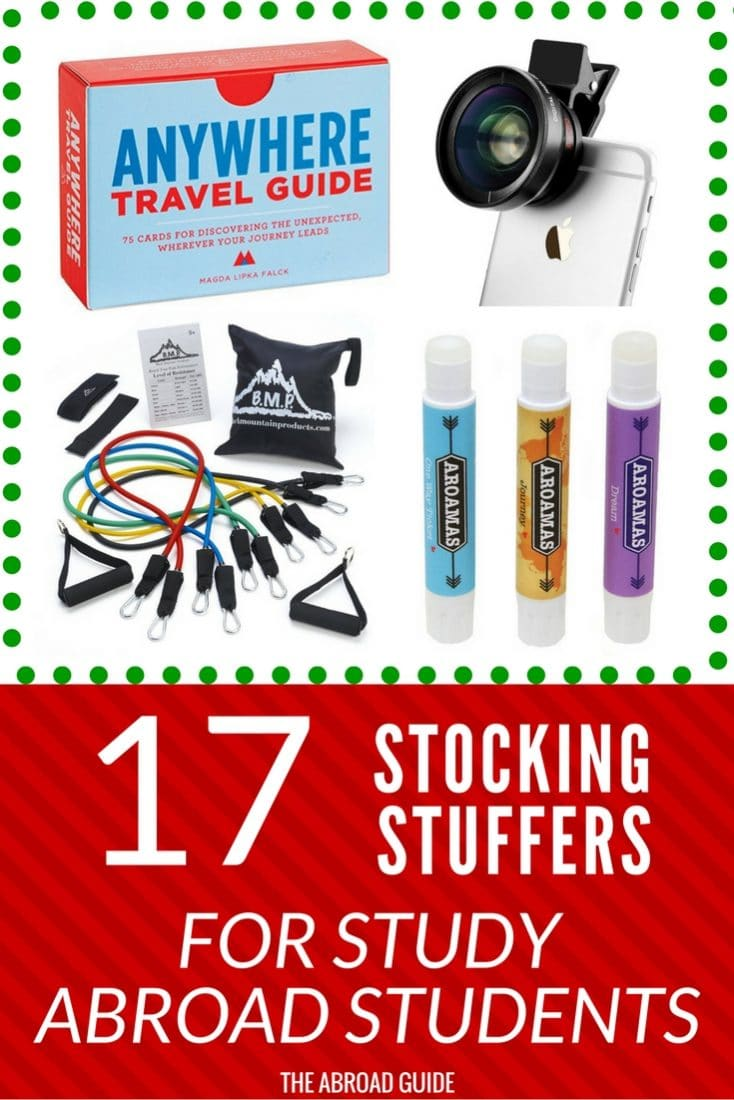 Need to get a gift for someone who's studying abroad next year? These gift ideas for stocking stuffers will be loved by all study abroad students-- they'll find them useful on their study abroad semester!