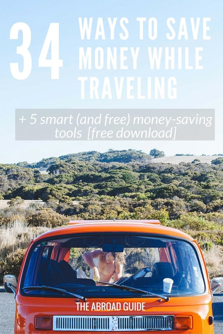 [Includes free PDF] A list of ways to save money when traveling, including how to save money on travel accommodation, how to spend less on food and drinks while traveling, and other ways to spend less while you're traveling. Includes a free PDF of 5 great tools that will help you save money and track your spending while traveling.